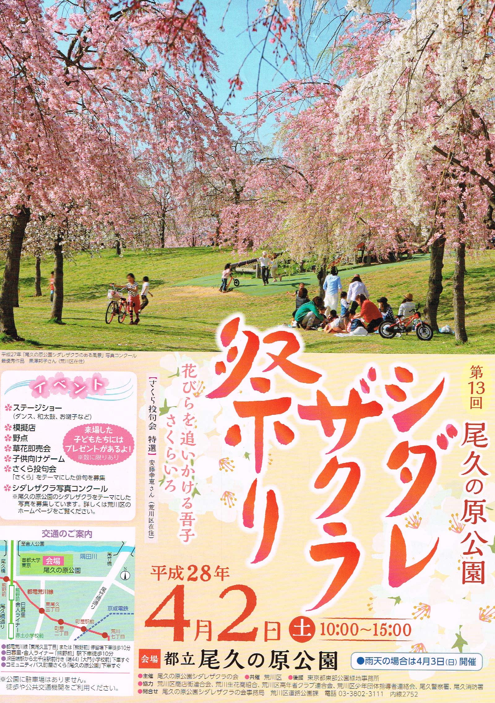 イベント情報 - (4月2日)第13回シダレザクラ祭り @尾久の原公園