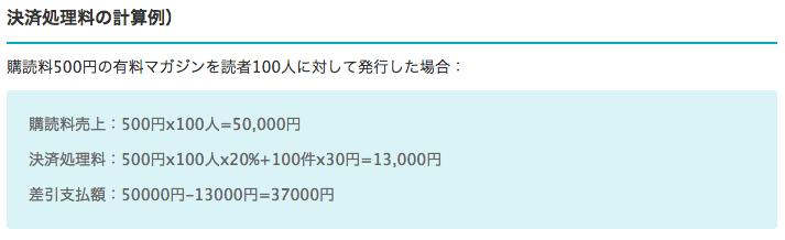 決済処理料の計算例