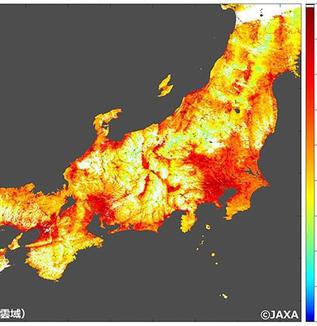 <暑い!> JAXA「地表温度の画像公開」トレンド入り 熊谷市や京都市で50度超 <暑い!> 猛暑、衛星で地表の熱がくっきり