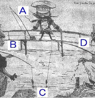 日清戦争を風刺した次の図を見て、各問いに答えなさい。