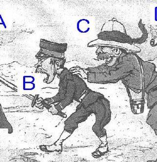 日露戦争を風刺した次の図を見て、あとの各問いに答えなさい。